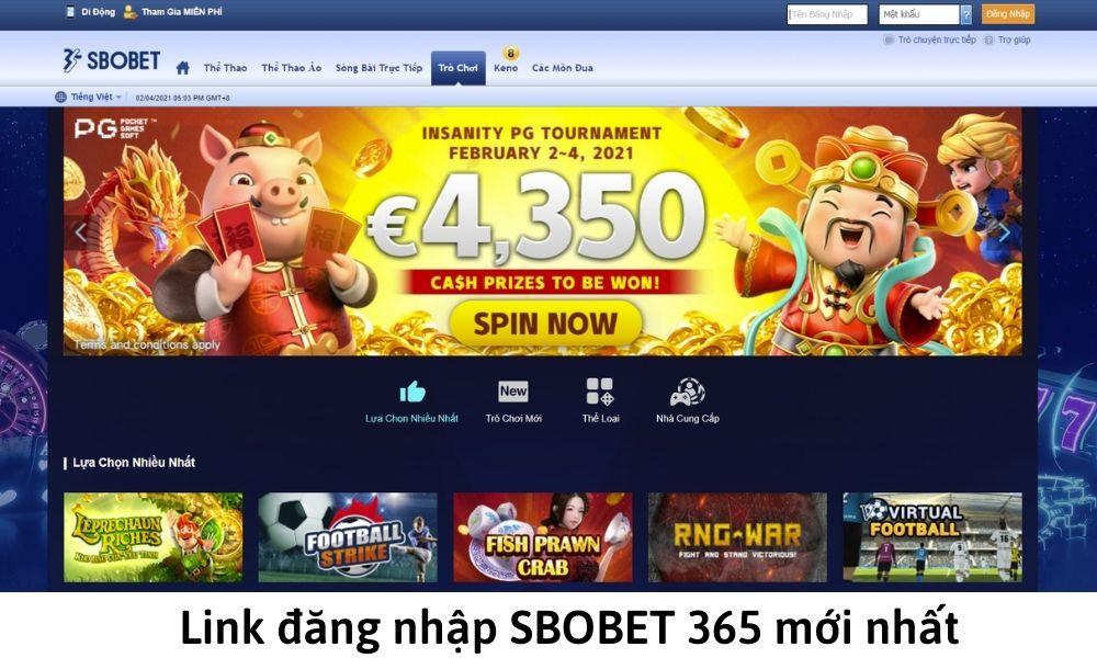 Link đăng nhập SBOBET 365 mới nhất